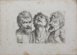 Three busts of men seen...