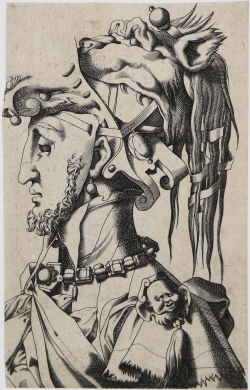 Masked man facing left