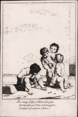 Four children playing dice